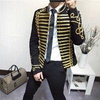 Золотая нить приталенный Блейзер Куртка певцы пальто мода сценический костюм мужской вечерние ный костюм артисты Пальто Повседневная драм
