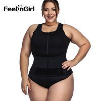 Feelingirl Neoprene Sauna Suit with Waist Trainer Belt Fitness Tank Top Sweat Vest Body Shaper Corset Waist Cincher Plus Size E
