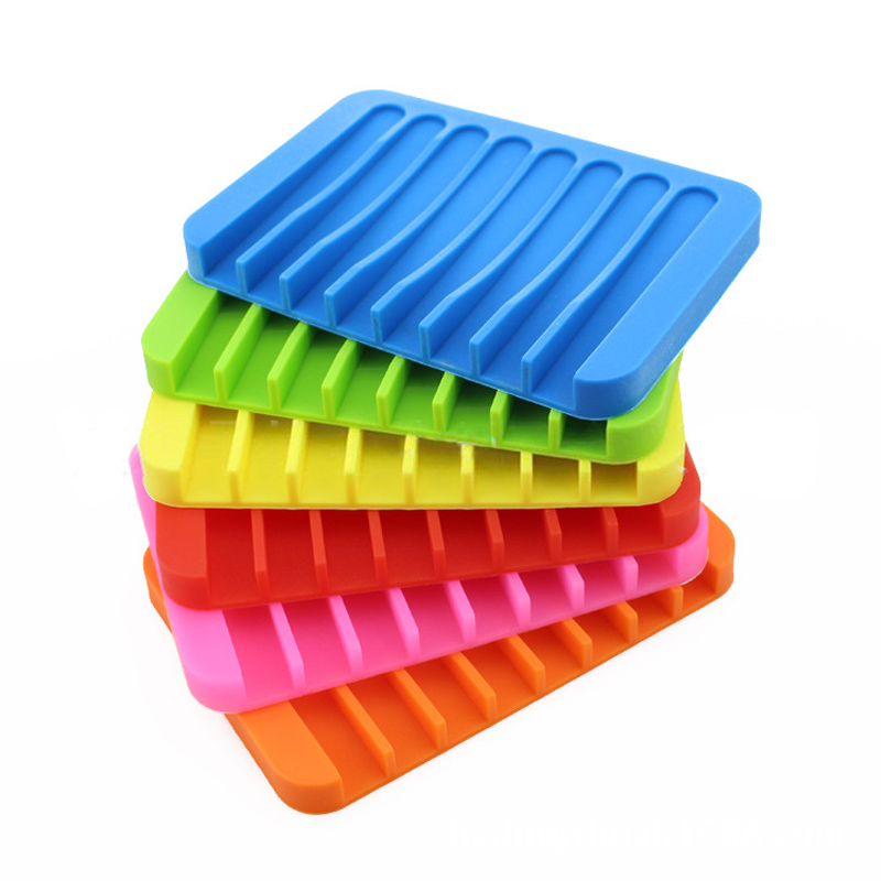 Anti-skidding Home Improvement Silicone Flexible Bathroom Fixtures Bathroom Hardware Tray Soapbox Soap Dishes Plate Holder