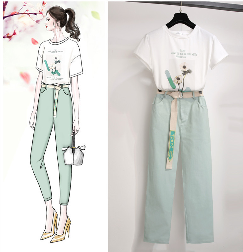 ICHOIX 2 pieces pants sets women letter printed t shirt summer two outfits elegant Korean style