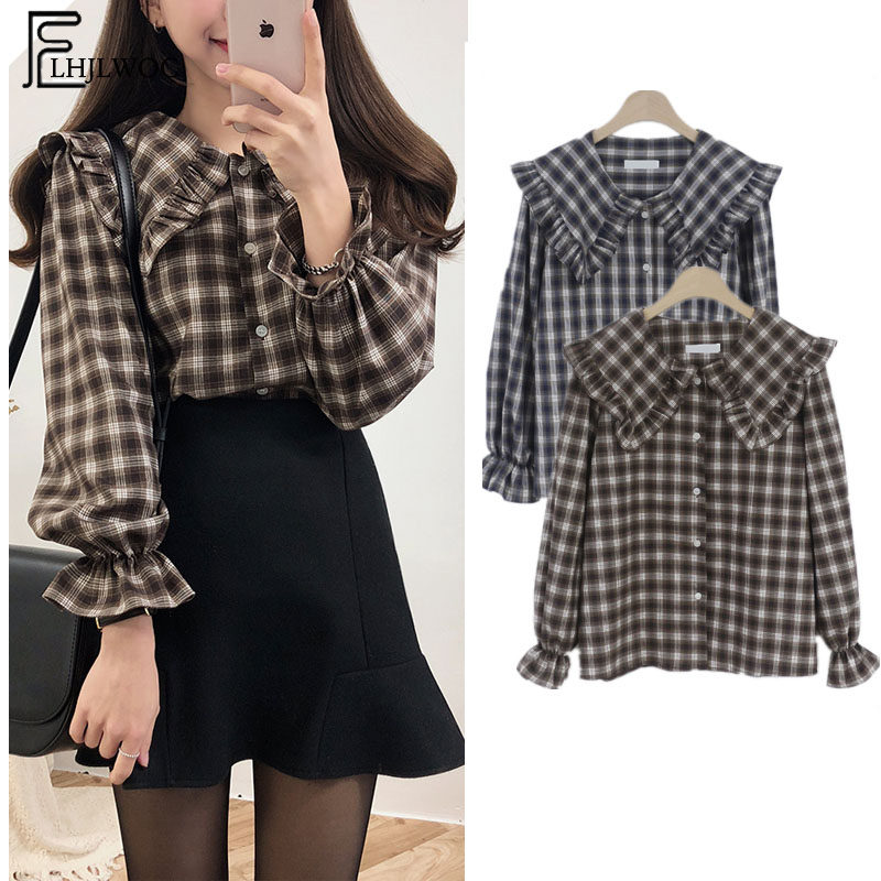 2019 Spring Autumn Basic Shirts Blouses Women Japan Preppy Style Design Ruffled Tops Ruffled Peter Pan Collar Plaid Button Shirt