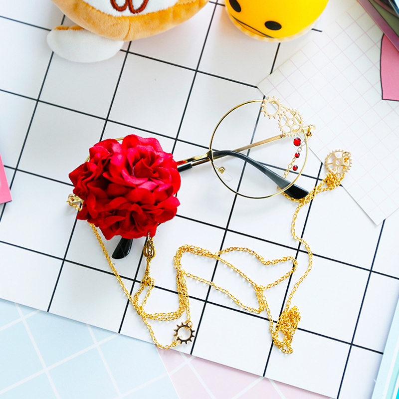 Retro Baroque Round Women Rose Decoration Fashion Luxury Gothic Steampunk Glasses Frame Lolita Harajuku Style Ladies Eyewear