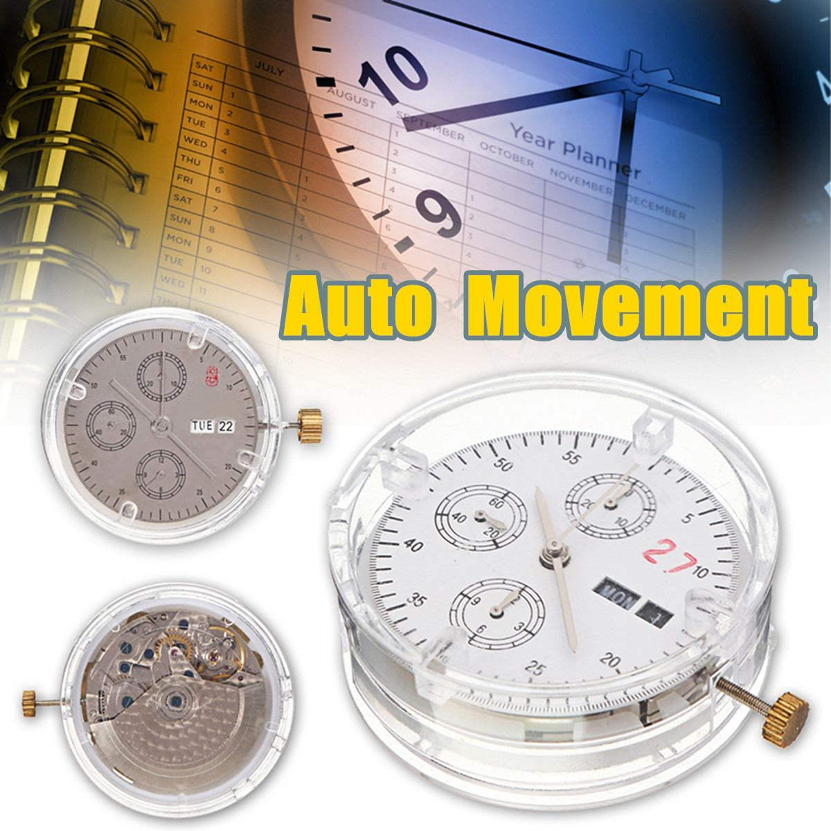 Plastic Automatic Movement ETA Clone 7750 Replacement Day Date Chronograph Repair Tools Kit Parts Fittings Watch Accessories-in Repair Tools & Kits from Watches    1