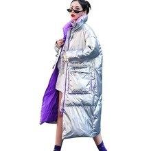 Women Winter Down Cotton Jacket Silver Bright Coat Ukraine Knee Long Parka 2019 New Thick European American Fashion Tide PJ351