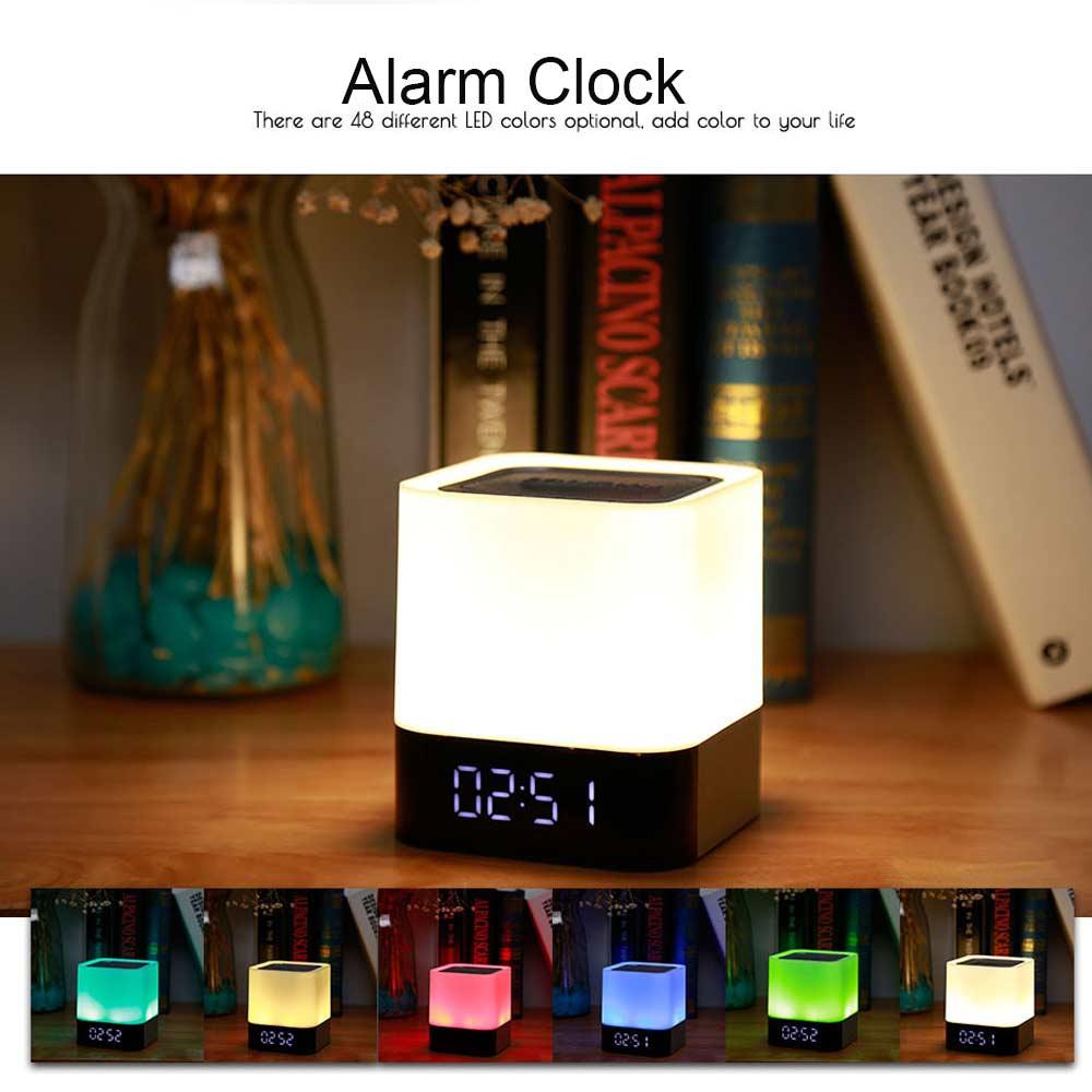 5 w Numérique D'alarme Horloge Sans Fil Tactile LED Nuit Lumière Bluetooth Haut-Parleur LED Coloré Mmultifunction Lampe Support USB/TF carte