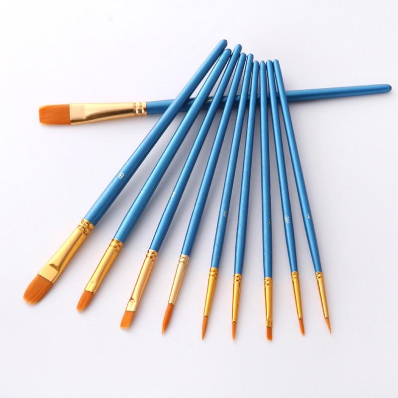 10Pcs/set Professional Watercolor Acrylic Wooden Handle Painting Brushes Nylon Artist Paint Brush Art Supplies Stationery