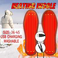Unisex USB Rechargeable Electric Heated Insoles for Shoes Winter Warmer Heating Foot Pads Boots Charging Heater Insole