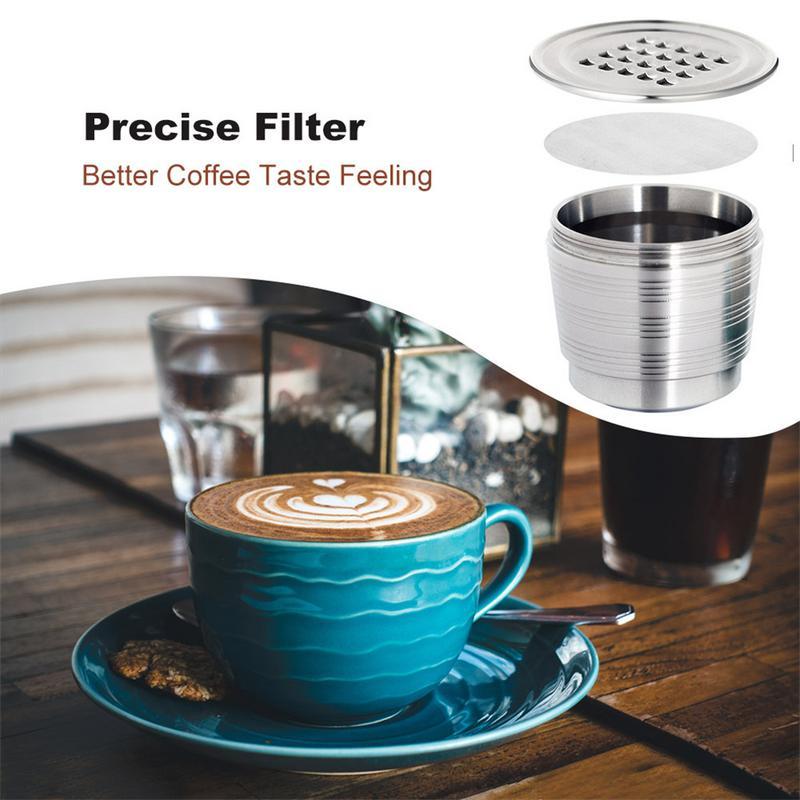 SUNSK Filtros C/ápsulas de Caf/é Puede Rellenar Reutilizar para Dolce Gusto Cafetera Fuerte C/ápsulas Filtros de Caf/é Recargable con Cuchar/ón de Pl/ástico y Cepillo de Limpieza