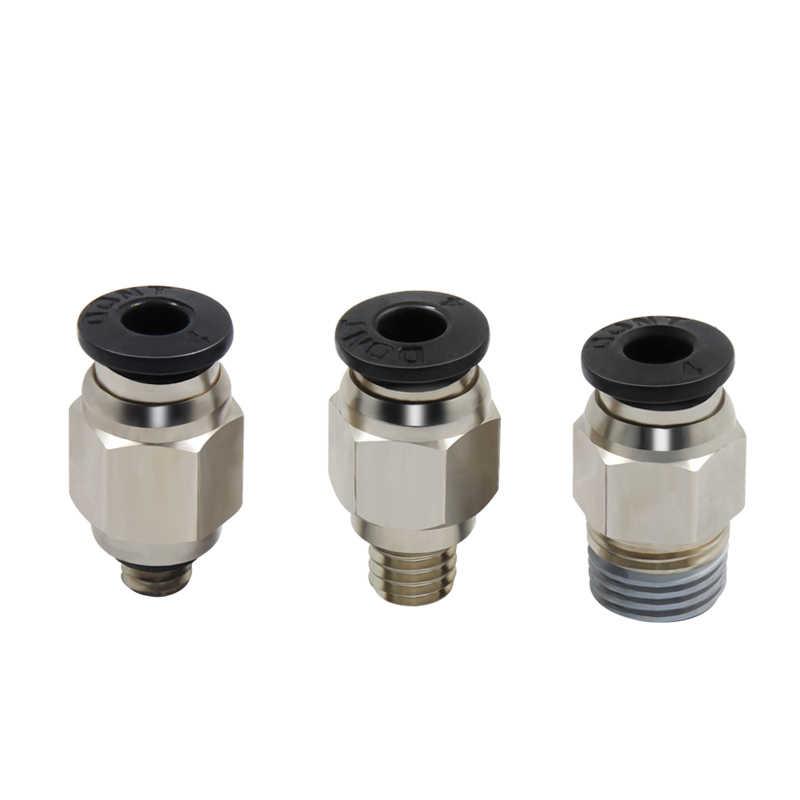3D Impressora Acessórios Pneumáticos PC4-01 PC4-M5 PC4-M6 Furo 4mm Para 4mm PTFE Conector Do Tubo Pneumático Conector de Engate rápido