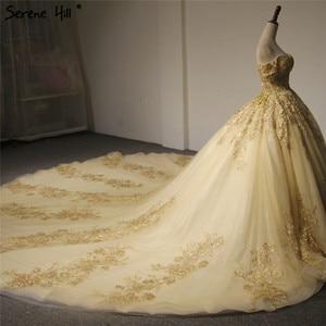 Image 3 - Robe de mariée Vintage, style dubaï, manches courtes, Sexy, épaules dénudées, robe de mariée luxueuse, dorée et pailletée, modèle 2020