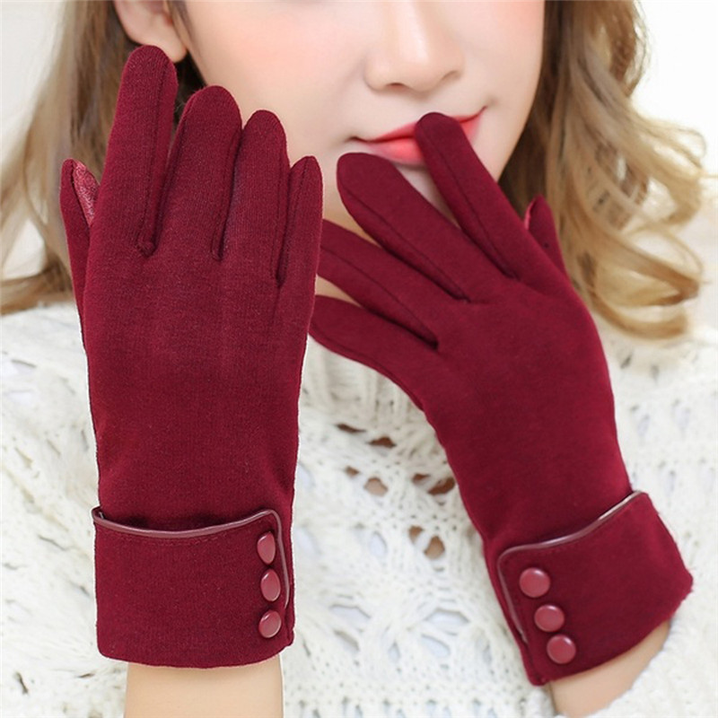 New Fashion Women Gloves Autumn Winter Cute Bow Warm warmer Mitts Full Finger Mittens Women Cashmere Female Gloves