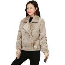 2018 Fashion Winter Suede Leather Jacket Women Short Lamb Wool Motorcycle Outerwear Casual Belt Thick Warm Coat