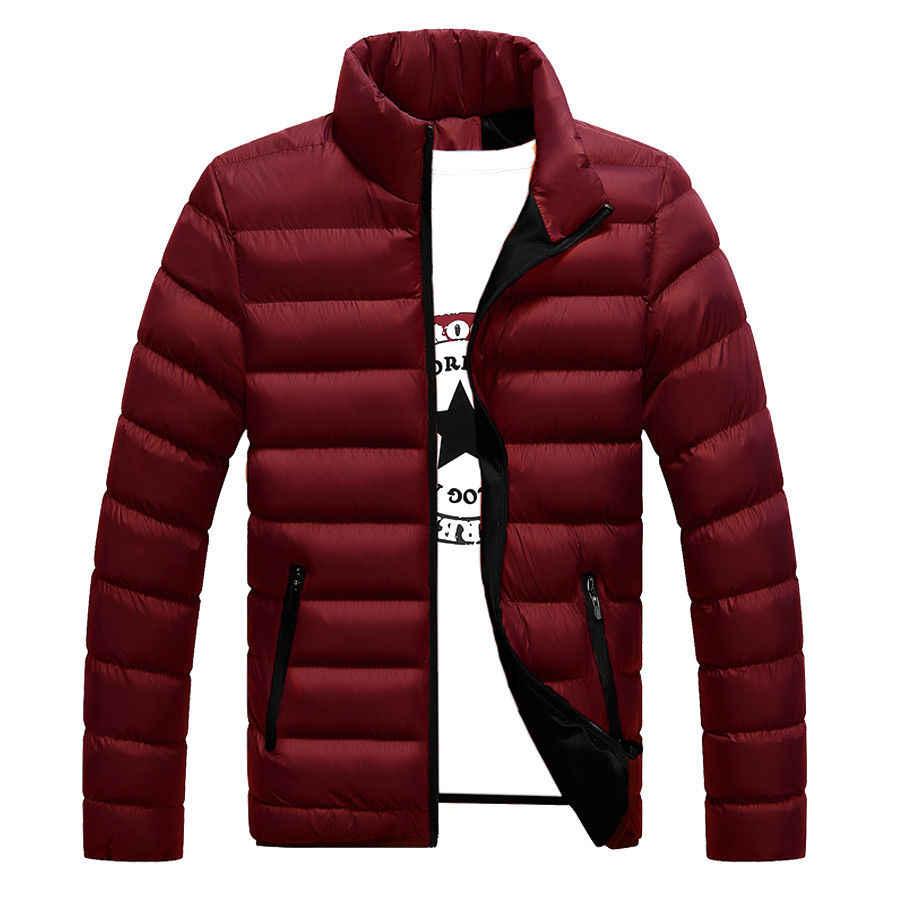 Chaqueta de invierno para hombre 2018, chaqueta Parka para hombre con cuello levantado a la moda, chaquetas y abrigos sólido grueso para hombre, Parkas de invierno para M-6XL