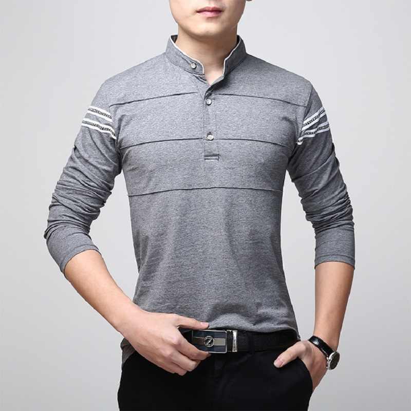 Musim Semi Sosial T Kemeja Pria Lengan Panjang Plus Ukuran Stripe Pria T-shirt 2019 Slim Fit Katun Pria Elegan Tees atasan 4XL 5XL
