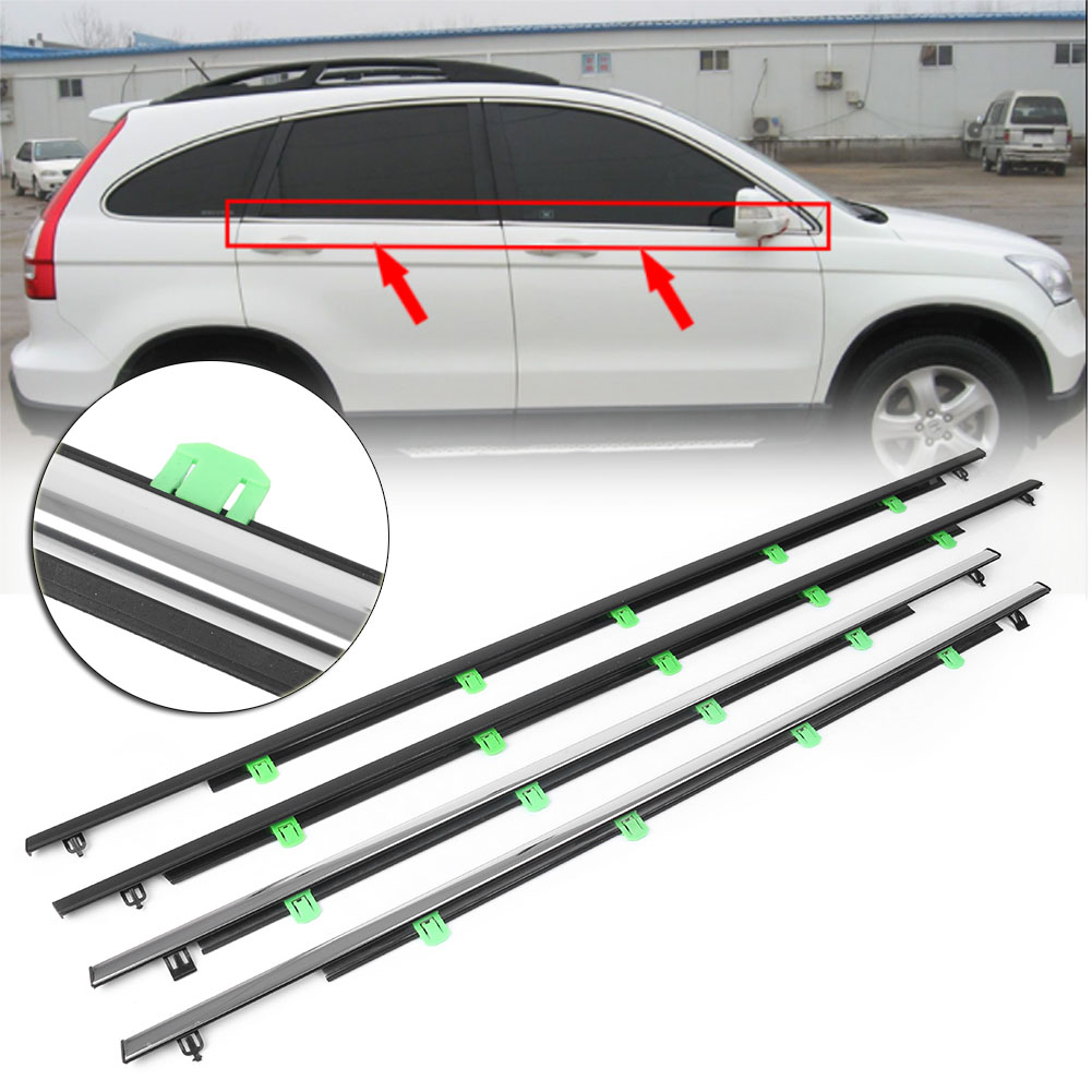 4PCS Car Outside Window Moulding Trim Weatherstrip Seal Belt Weather Strip For Honda CR V CRV 2007 2008 2009 2010 2011-in Styling Mouldings from Automobiles & Motorcycles