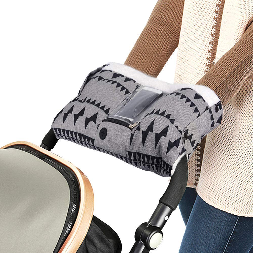 Stroller Hand Anti-Freeze Waterproof Gloves With Cell Phone Pocket Warmer Winter Gift For One Size Gray