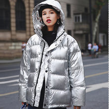 2018 Short Winter Jackets Bread Service Thickened Hood Silver Shine Coat Women's Solid Color Loose Cotton Jacket Outerwear P701(China)