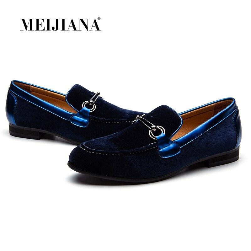 Chaussures Casual Mariage Rouge Velours bleu Et Cuir Noir De Hommes Meijiana rouge Sur En Mocassins Robe Slip Noir Avec Bleu CxwtYSFq