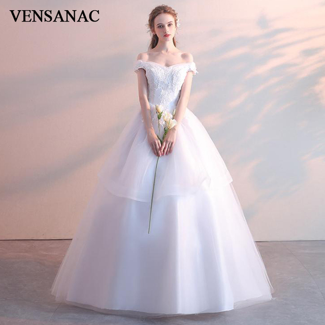 9f8983a1982d VENSANAC 2018 Lace Appliques V Neck Tiered Tulle Ball Gown Wedding Dresses  Off The Shoulder Backless Bridal Gowns