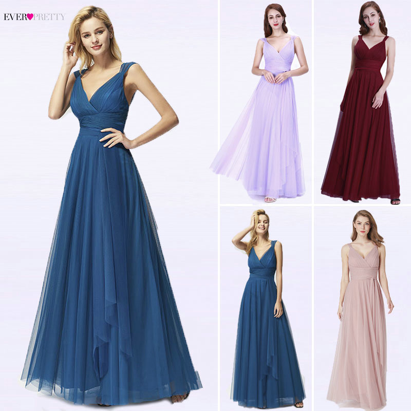 Long Evening Dresses 2019 Ever Pretty EP07303OD New Fashion Sexy A Line V Neck Tulle Wedding Party Gowns Robe De Soiree Longue