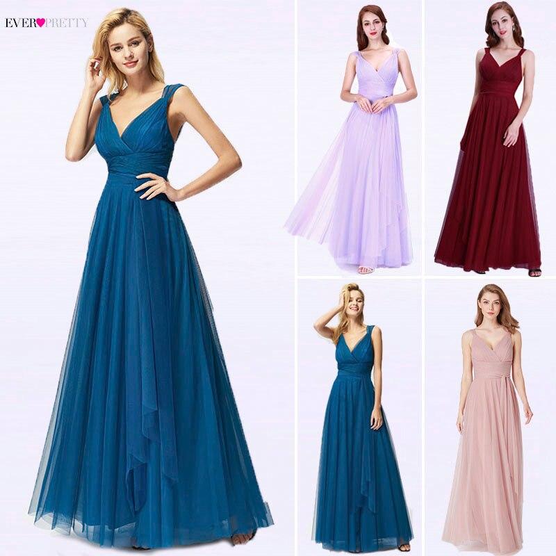 Robes De soirée longues 2019 jamais jolie EP07303OD nouvelle mode Sexy une ligne col en V Tulle robes De soirée De mariage Robe De soirée Longue
