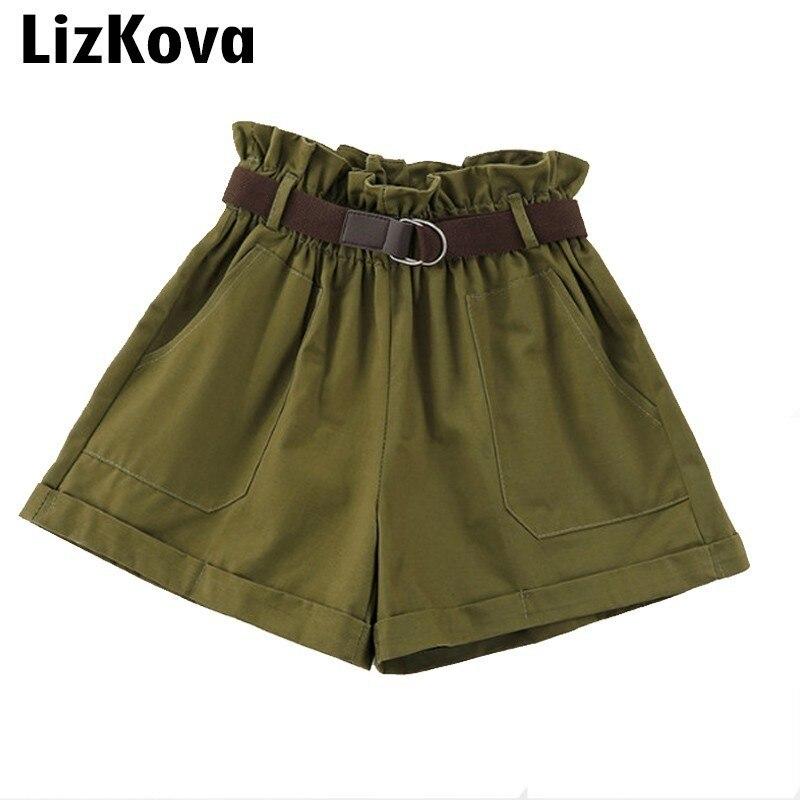 Шорты армейского зеленого цвета, летние популярные шорты с высокой талией, широкие брюки, корейская мода, уличная одежда, однотонные