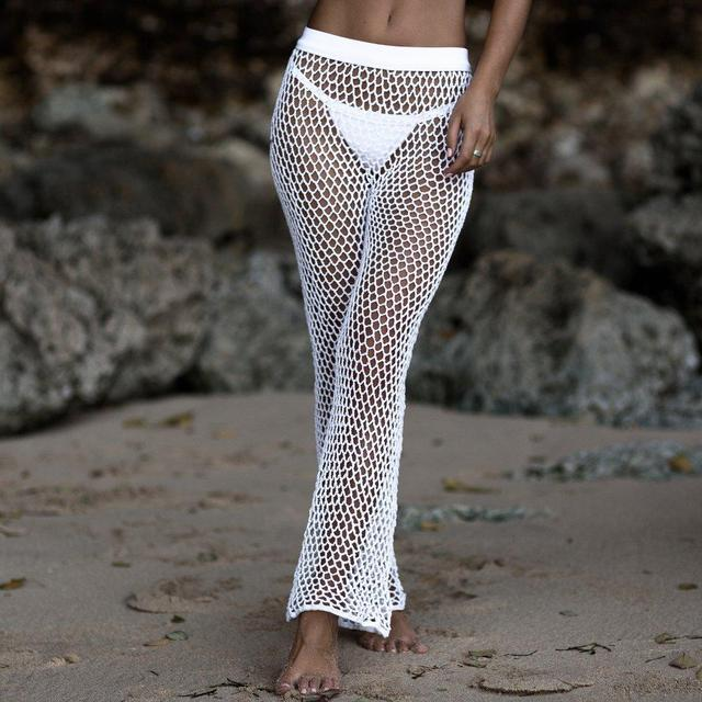 Crochet Mesh Beach Pants For Women 2019 Summer New Elastic Bikini