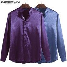 Модная мужская рубашка с длинным рукавом и стоячим воротником, шелковые атласные топы, облегающие повседневные рубашки для мужчин, деловые рубашки для мужчин INCERUN