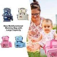 4pcs/set Mummy Bag Large Capacity Embroidery Travel Maternity Bag Diaper Baby Bag Set Multifunctional Nursing Bag for Gift