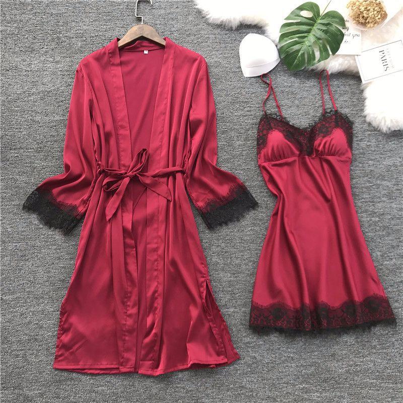 Image 2 - QWEEK Women Silk Robe Gown Set Summer Sexy Lace Women Sleepwear Dress Elegant Woman Pajamas Casual Bathrobe Sets-in Robe & Gown Sets from Underwear & Sleepwears