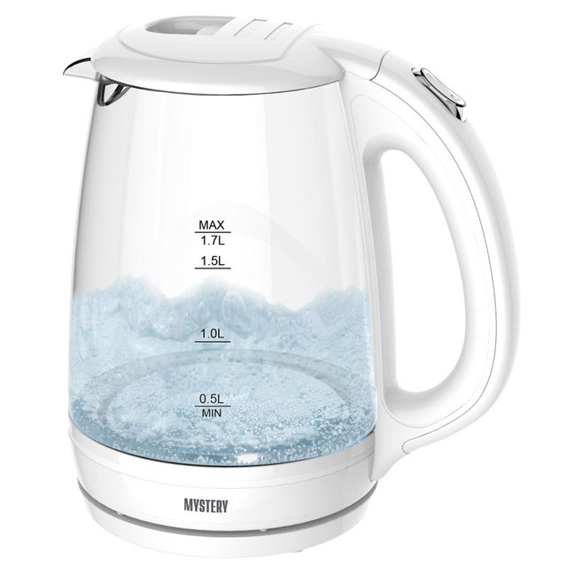 Чайник электрический MYSTERY MEK-1642 (Мощность 1800 Вт, объем 1.7 л, стеклянный корпус, LED-подсветка, вращение 360°)