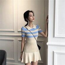 c17db1f16b99 Hong Kong Abbigliamento di marca di modo Nuovo di estate delle Donne di  tendenza Colorblock strisce