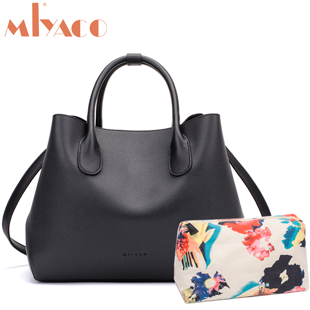 Miyaco Brand Women Bag Black leather Handbags Designer Tote Bag Female Messenger Bags Top Handle Bag with Floral Pouch