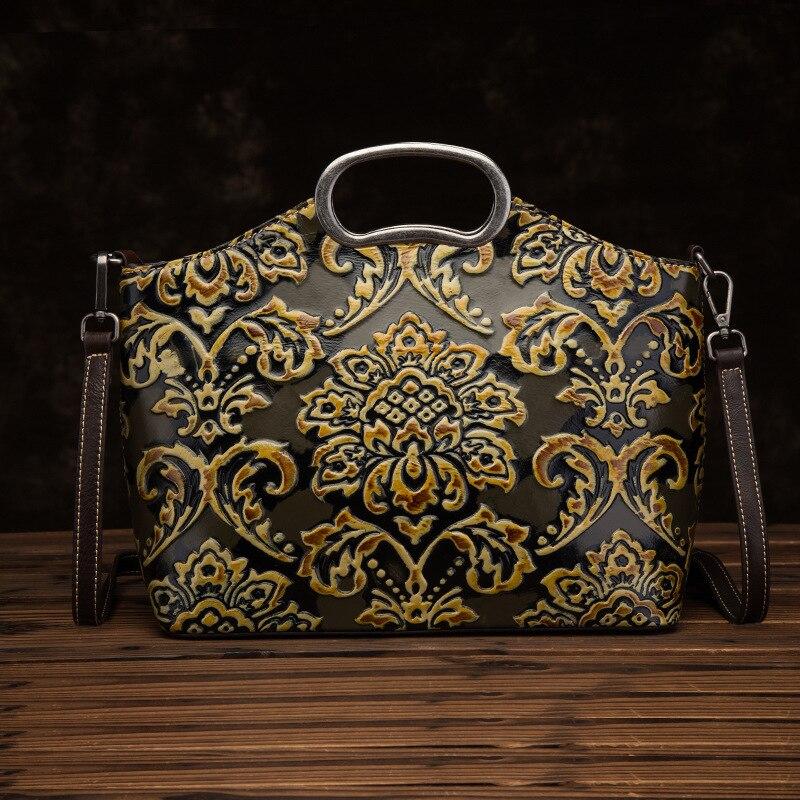 Genuine Leather Women Top Handle Bag Handbag National Style Tote Embossed High Quality Natural Skin Shoulder