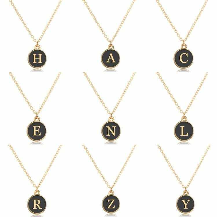 YANGQI Trendy Gold Letters Necklace Double Side Black Round Pendant Lettering A-Z Private Custom Made Necklaces&Pendants Gifts