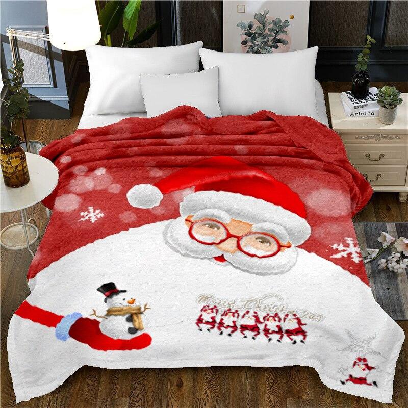 Peluche microfibre doux jeter couverture noël père noël léger confortable couverture de lit chaud couverture polaire pour toutes les saisons - 2