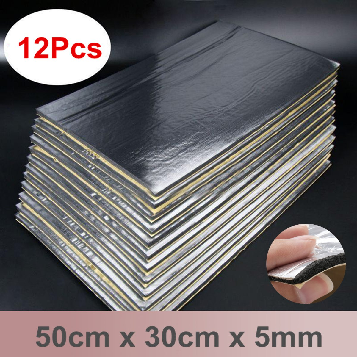12Pcs/Set Audio Sound Deadener Automobiles Car Heat Noise Shield Insulation Proof Mat Cotton Accessories 30x50cm 5mm