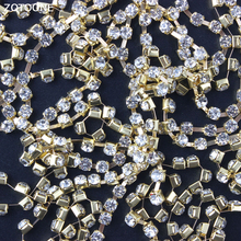 ZOTOONE 1Yard Gold Motif Rhinestones for Clothes Strass Claw Chain Rhinestone Trim Glue Nails Stickers DIY Sewing Accessories E