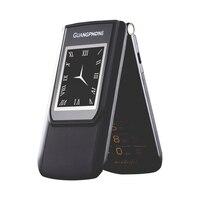 Unlock Flip Slim Touch Dual Display SOS Speed dial Senior Telephone For Elder Video MP3 Two Sim Russian Key Loud Sound P047
