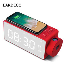 EARDECO Wireless Charging Alarm Clock Bluetooth Speaker Stereo Portable Subwoofer Mic TF Radio Speakers HiFi