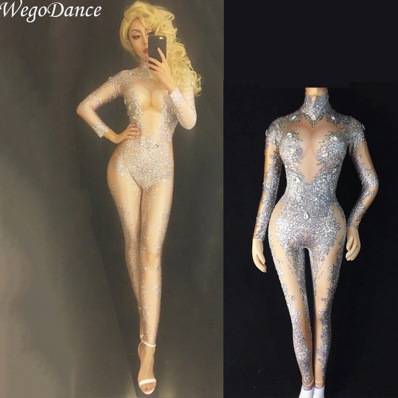 Women's Sexy Rhinestones Bodysuit Stage Outfit Female Singer Gray Leggings Nightclub Nude Crystals Costume Dance Jumpsuit