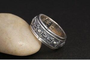 Image 5 - Handmade 925 Silver Tibetan Dorje Ring Vintage Thai Silver Buddhist Vajra Symbol Ring Sterling Spinning Ring GOOD LUCK