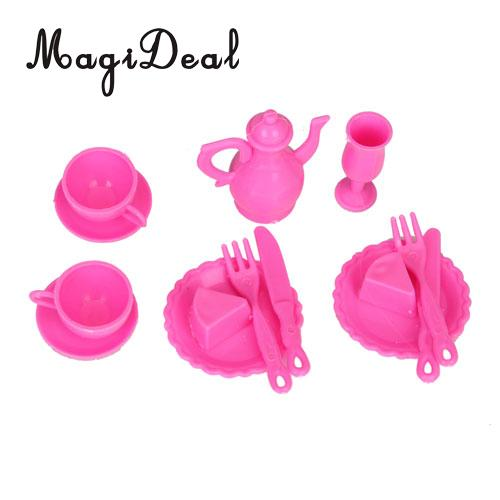 MagiDeal Dining Room Furniture Dining Table Set for Doll Shocking Kids Children Pretend Play Furniture Toys Pink&White