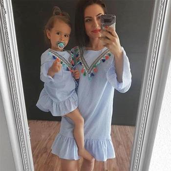 Moda vestidos de família meninas vestido de princesa topos roupas tassel voar manga listra mãe filha vestidos de festa para meninas do miúdo