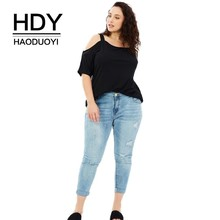 HDY HAODUOYI Plus Size Solid Casual Slash Neck Women T-shirt  Female Hollow Out Sexy Tops Black Loose Top Tees Big