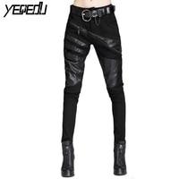 #1312 Spring Autumn Harem Hip hop Pants Women Black Spliced PU Pants Leather Pockets Casual Black Skinny Trousers Female Joggers