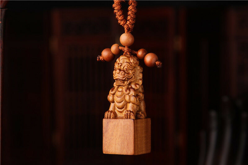 Wood Carved Chinese Lion Dog Statue Sculpture Pendant Key Chain
