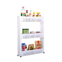Movable Kitchen Storage Rack Shelves Organizer Plastic Wheels Refrigerator Space Rack Bathroom Shelf Gap Interspace Shelves