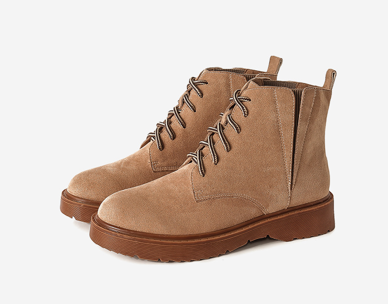 Mode Fur Bout Martin Décontracté Lacet Dames Bottes Med Femmes Rond Chaussures Cheville Fu De Up brown Moto Punk orange Noir black With Solide IeEbDYWH29