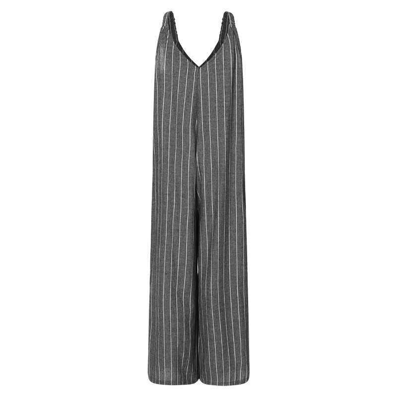 2a5c241554bb ZANZEA 2019 Women Striped Jumpsuits Summer Wide Leg Overalls Female V Neck  Playsuits Casual Pants Plus
